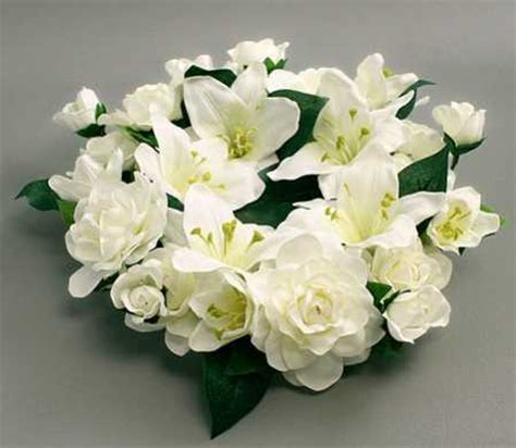 artificial silk lily  gardenia candle ring candles