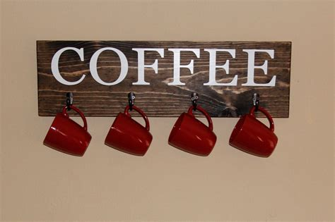Coffee Cup Wall Rack by Coffee Cup Rack Coffee Sign With Hooks Kitchen Decor Cup
