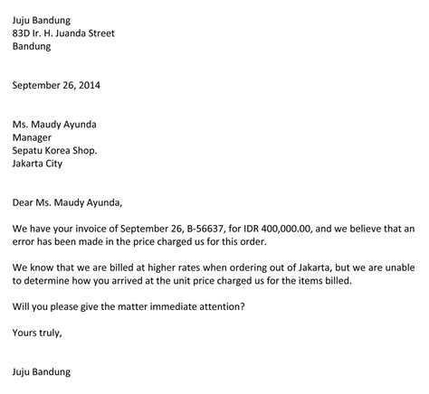 format email dalam bahasa inggris surat komplain bahasa inggris jujubandung