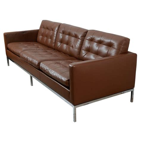 Florence Leather Sofa Classic Chocolate Brown Florence Knoll Leather Sofa At 1stdibs