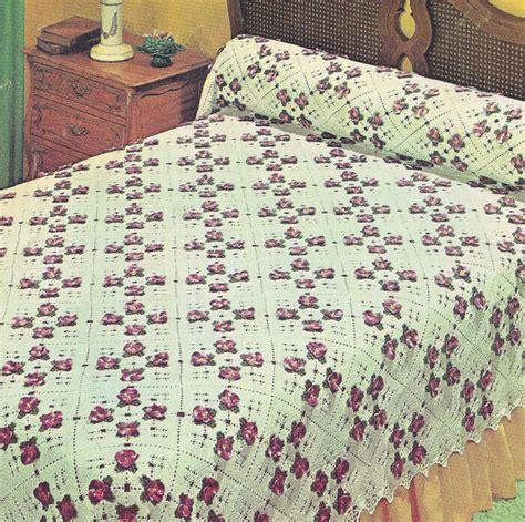 vintage crochet pattern   pansy bedspread motif