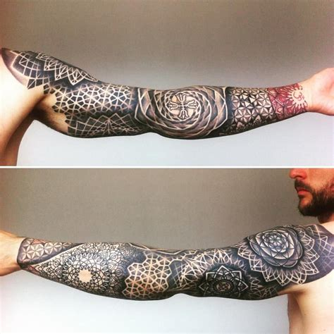 mens mandala tattoo s sacred geometry by day sleeve tattoos