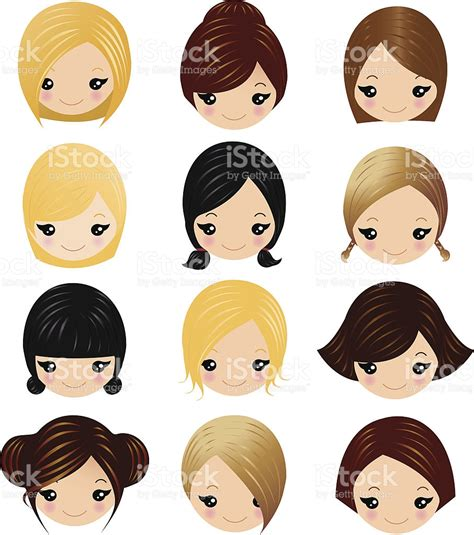 girl hairstyles vector little girls hairstyles stock vector art more images of