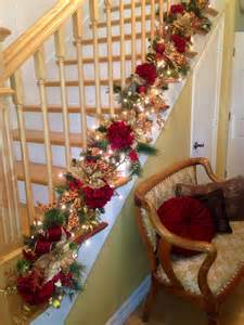 christmas staircase garland christmas decor pinterest