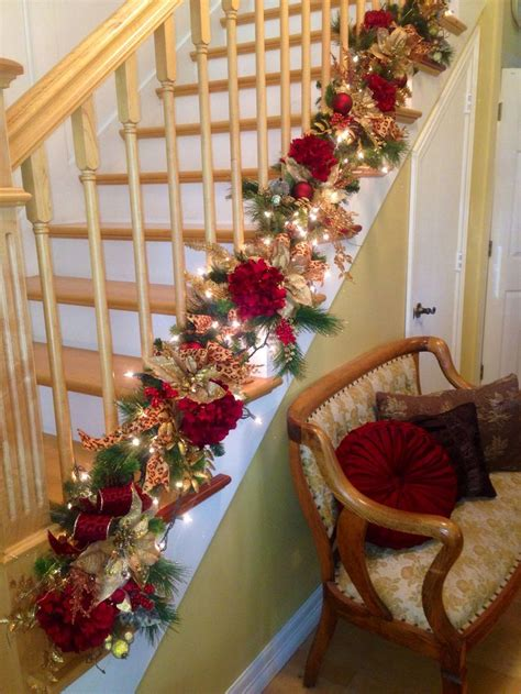 25 best ideas about christmas stairs decorations on
