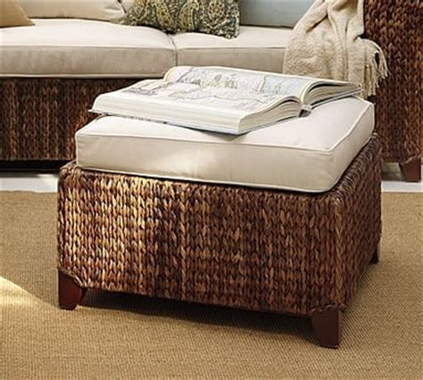 Seagrass Storage Ottoman Seagrass Square Sectional Ottoman Traditional Footstools And Ottomans By