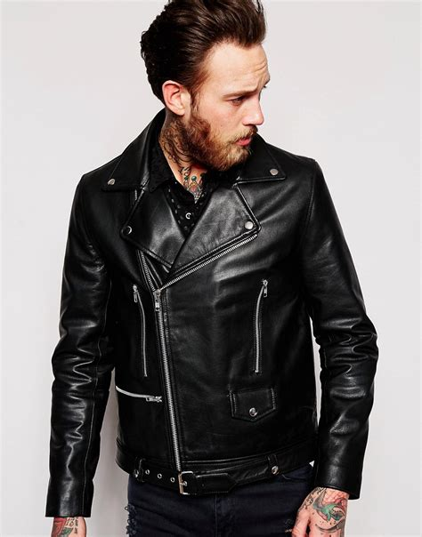 asos asos leather biker jacket with belt in black at asos