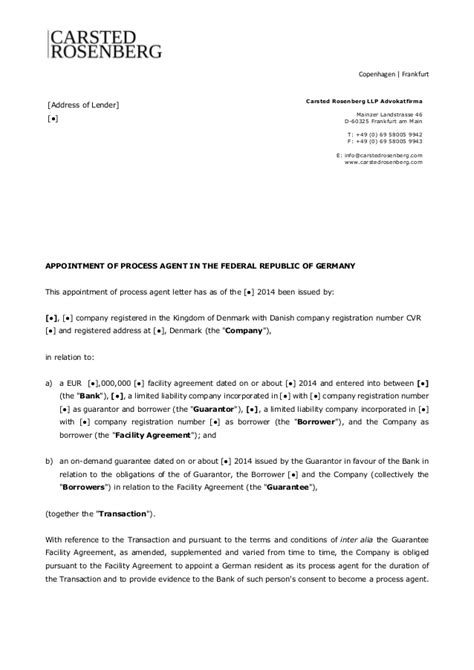 Agreement Letter For Appointment Template Appointment Of Process In Germany Carsted Rosenberg