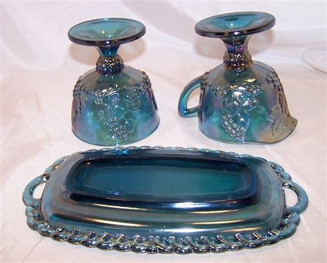 Carnival Glass, Blue, Sugar, Creamer, Tray Set, Original Box