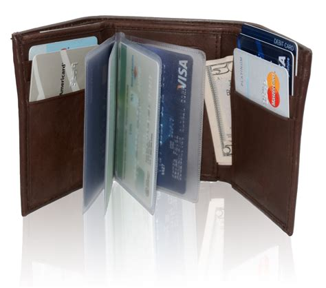 Gifts For Blind Men Afonie Rfid Blocking Genuine Leather Tri Fold Wallet For