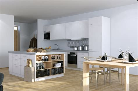 Open Kitchen Designs In Small Apartments Scandinavian Studio Apartment Kitchen With Open Plan Dining And Storage Island