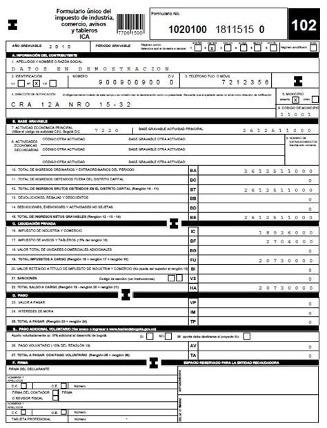 retencion ica bogota plan de cuentas impuestos