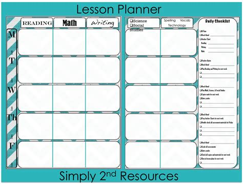 lesson planner printable free simply 2nd resources throwback thursday linky