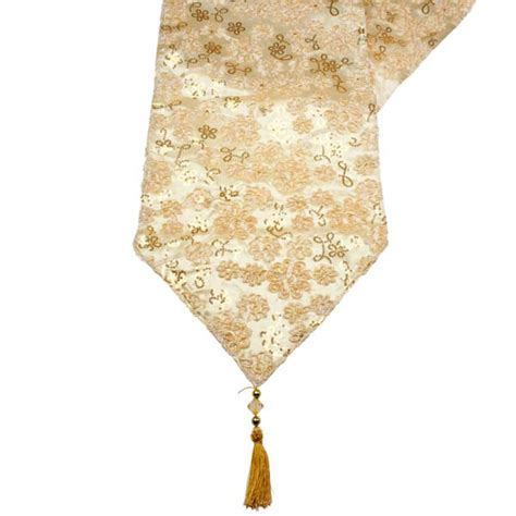cream gold opulent table runner with tassels 30cm x