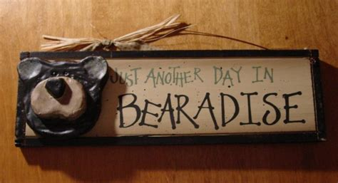 home decor wood signs bearadise black bear lodge rustic log cabin wood home
