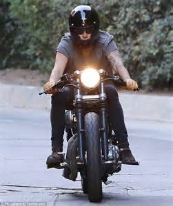 hairstyles for who ride a motorcycle harry styles zips through the streets of la on his