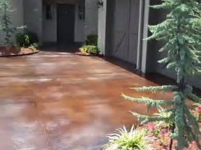 Patio Concrete Stain Ideas Acid Stained Concrete Driveway Youtube