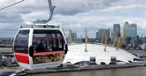 thames clipper excel centre emirates cable car between the o2 arena and the royal