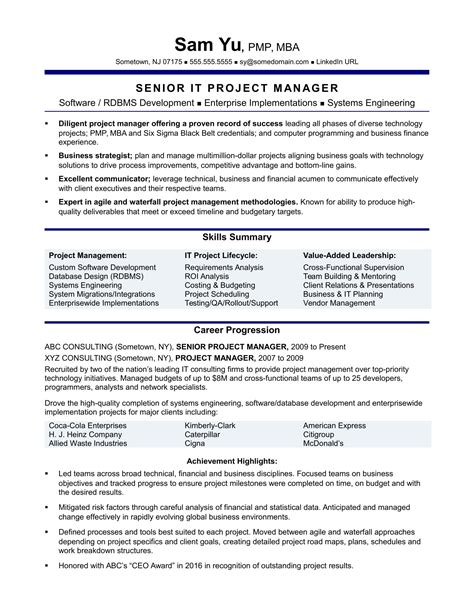 it project manager sle resume project manager resume templates best template exles