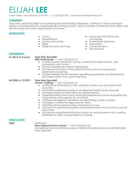 Data Entry Resume by Best Data Entry Resume Exle Livecareer
