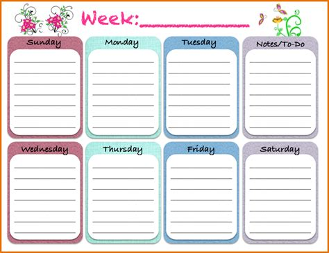 8 weekly schedule template pdfreference letters words