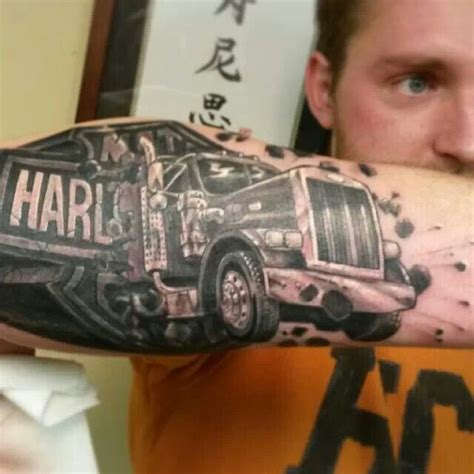 trucker tattoos black and grey harley davidson truck cars