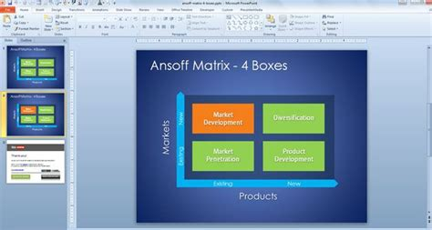 Mba Powerpoint Presentation Templates by Free 4 Boxes Ansoff Matrix Template For Powerpoint
