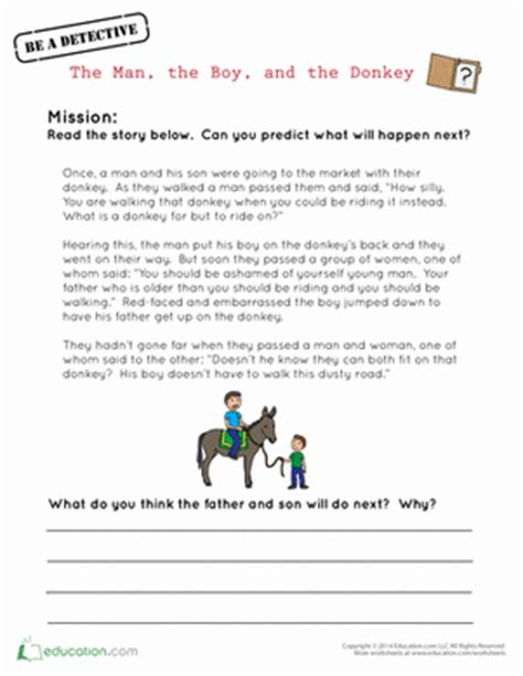 Fables Comprehension Worksheets by The The Boy And The Worksheet Education
