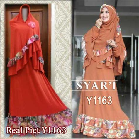 Maxi Syari Tuscany Real Pict baju gamis bergo cheryl syar i y1163 busana muslim cantik