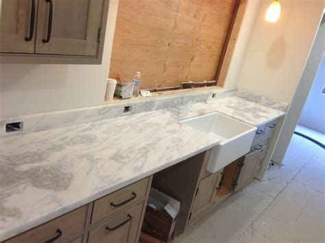 White Tile Backsplash Kitchen by Namib Sky Quartzite Prefab Counter Tops Artistic Stone