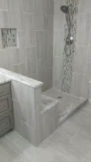 Offset Corner Shower Bath master bathroom complete remodel 12 quot x 24 quot vertical tile