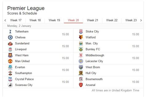 epl week 20 football match schedules 2016 17 187 expert motorised