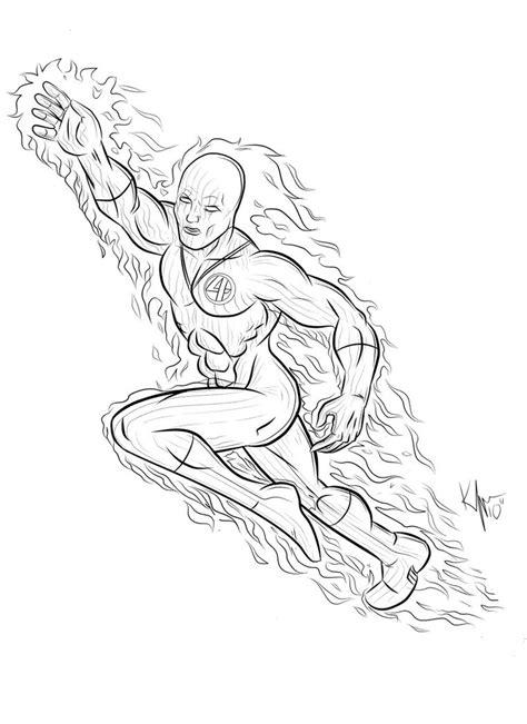 Human Torch Coloring Pages human torch free coloring pages