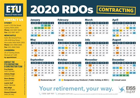 sydney construction contracting  rdo calendar