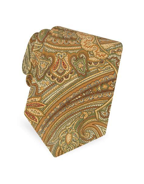 brown pattern tie marina d este large paisley pattern classic twill silk tie