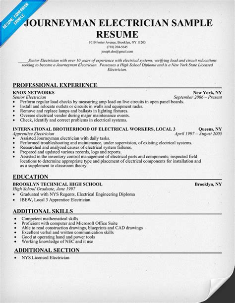 Sle Resume Electrical Lineman Journeyman Electrician Resume Sle Resumecompanion Electrical Trade