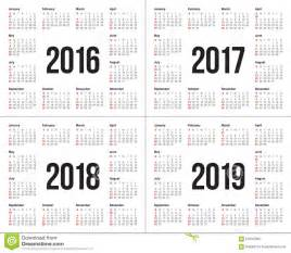 Kalender 2016 Bis 2018 Kalender 2016 2017 2018 2019 Vektor Abbildung Bild 61091260