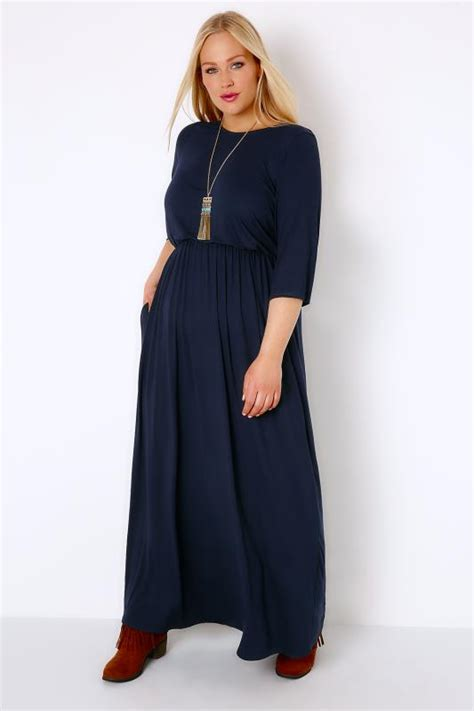Jersey Dress Gamis Jersey 26 navy jersey maxi dress with ruched waist plus size 16 to 32