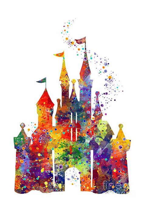 printable disney art disney castle 6 watercolor print digital art by svetla