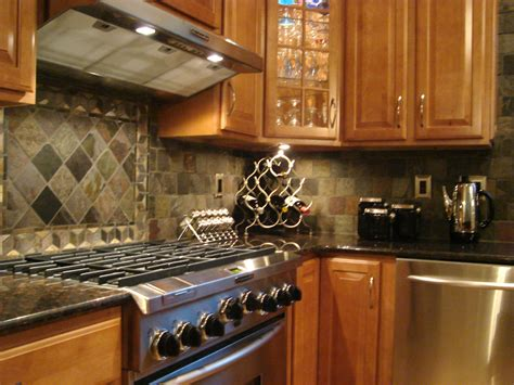 Backsplash In Kitchen by Tumbled Slate Backsplash