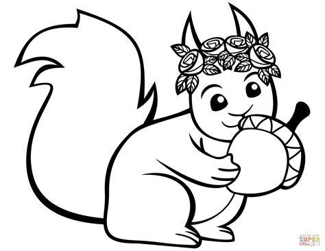 cute squirrel   acorn coloring page  printable