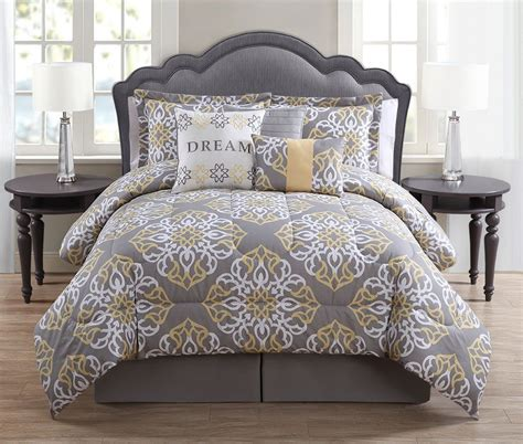 yellow gray and white bedding 7 piece dream mint charcoal white print comforter set my