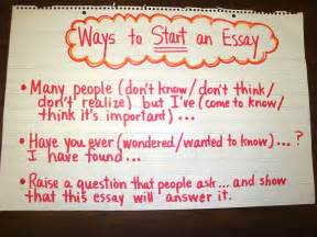 Exles To Start An Essay by Ways To Start An Essay Chart Wrtg 6traits Ideas Organization Pint