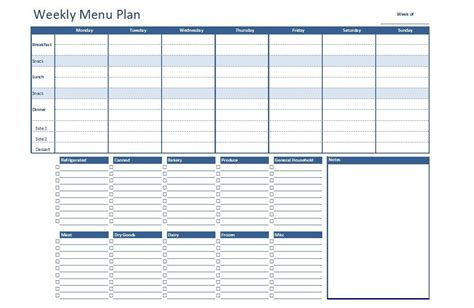menu excel template free excel weekly menu plan template dowload