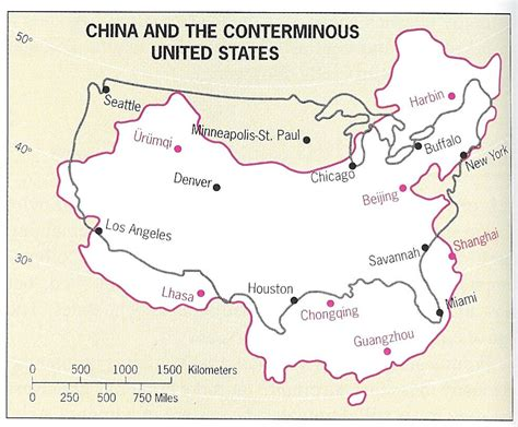 usa china map map of china overlaid on the united states along