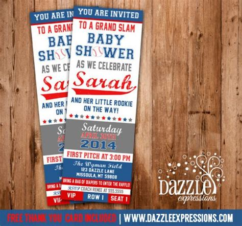 Ticket Baby Shower Invitations by Printable Baseball Ticket Baby Shower Invitation Baby