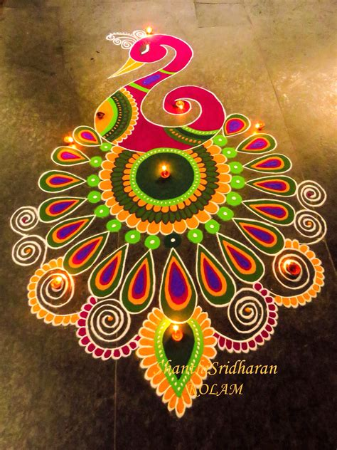 beautiful design beautiful simple peacock rangoli designs images