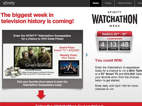 Watchathon Sweepstakes - xfinity game of thrones watchathon fandifavi com