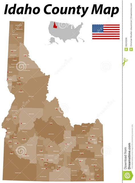 idaho county map stock vector image