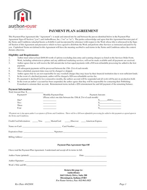 Patient Payment Agreement Letter Image Gallery Monthly Payment Plan Form